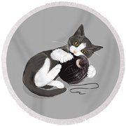 Death Star Kitty Round Beach Towel