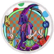 Death Takes His Bunny Friends To The Circus Round Beach Towel