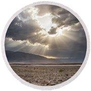 Death Valley Sun Burst Round Beach Towel