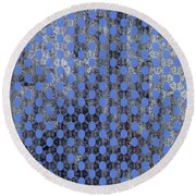 Decadent Urban Blue Patterned Abstract Design Round Beach Towel