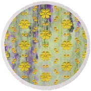 Decadent Urban Bright Yellow Patterned Purple Abstract Design Round Beach Towel