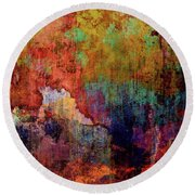 Decadent Urban Red Wall Grunge Abstract Round Beach Towel