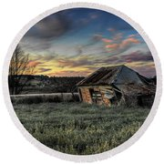 Decaying Cottage Round Beach Towel