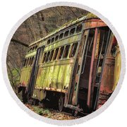Decaying Trolley Cars Round Beach Towel