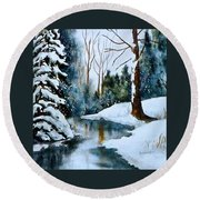 December Beauty Round Beach Towel