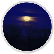 December Moon Round Beach Towel