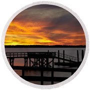 December Sunset Round Beach Towel