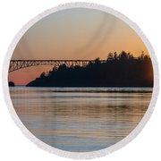 Deception Pass Bridge Sunset Sunstar Round Beach Towel