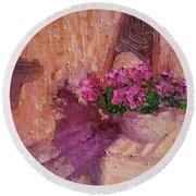 Deck Flowers #2 Round Beach Towel
