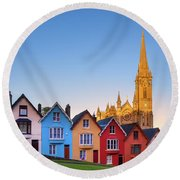 Deck Of Cards And St Colman's Cathedral, Cobh, Ireland Round Beach Towel