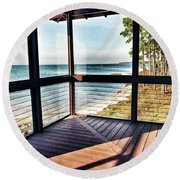 Deck With Ocean View Round Beach Towel
