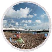 Deckchairs On Brighton Beach Round Beach Towel
