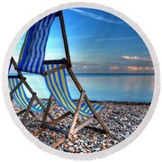 Deckchairs On The Shingle Round Beach Towel