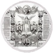 Declaration Of Independence 1884 Poster Restored Round Beach Towel