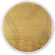 Declaration Of Independence Round Beach Towel by American School