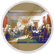 Declaration Of Independence Round Beach Towel