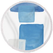 Deconstructed Blue Gingham 1- Art By Linda Woods Round Beach Towel