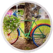 Decorated Bicycle In The Park Round Beach Towel