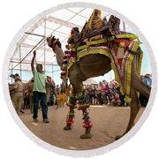 Decorated Camel Pushkar Round Beach Towel