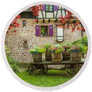 Half-timbered House, Riquewihr, Alsace,france  Round Beach Towel