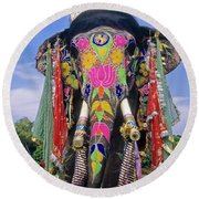Decorated Indian Elephant Round Beach Towel