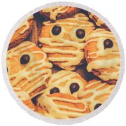 Decorated Shortbread Mummy Cookies Round Beach Towel