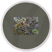 Decorated With Leaves Round Beach Towel
