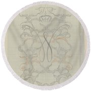 Decorative Design With Crowned W, Carel Adolph Lion Cachet, 1874 - 1945 Round Beach Towel