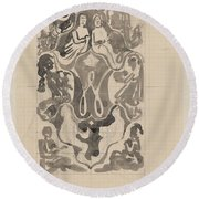 Decorative Design With Crowned W Surrounded By Persons, Carel Adolph Lion Cachet, 1874 - 1945 Round Beach Towel