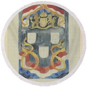 Decorative Design With The National Coat Of Arms, Flags And Banners, Carel Adolph Lion Cachet, 1874  Round Beach Towel