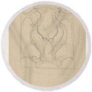 Decorative Design With Two Birds, Carel Adolph Lion Cachet, 1874 - 1945 Round Beach Towel