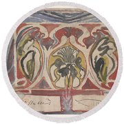 Decorative Design With Two Signatures, Carel Adolph Lion Cachet, 1874 - 1945 Round Beach Towel