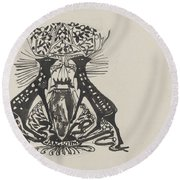 Decorative Design With Two Standing Deer, Carel Adolph Lion Cachet, 1874 - 1945 Round Beach Towel