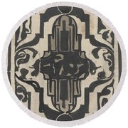 Decorative Design With Two Stylized Lions, Carel Adolph Lion Cachet, 1874 - 1945 Round Beach Towel