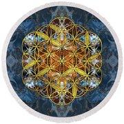 Decorative Gemstone Sacred Geometry Flower Of Life   Round Beach Towel