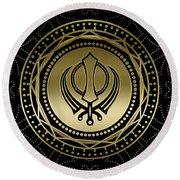 Decorative Khanda Symbol Gold On Black Round Beach Towel
