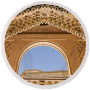 Decorative Moorish Architecture In The Nasrid Palaces At The Alhambra Granada Spain Round Beach Towel