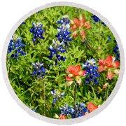 Decorative Texas Bluebonnets Meadow Digital Photo G33117 Round Beach Towel