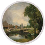 Dedham Lock And Mill Round Beach Towel