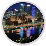 Deep Blue Night In Pittsburgh Round Beach Towel
