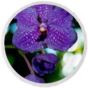 Deep Blue Orchid Round Beach Towel
