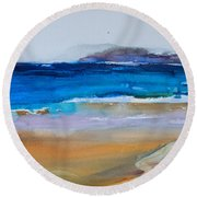Deep Blue Sea And Golden Sand Round Beach Towel