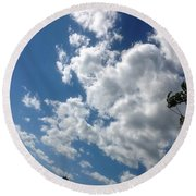 Deep Blue With Lovely Clouds Round Beach Towel