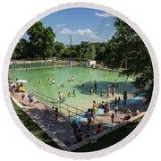 Deep Eddy Pool Is A Family Friendly, Family Fun, Public Swimming Pool In Austin, Texas Round Beach Towel