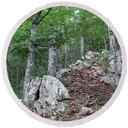 Deep Forest Rocky Path Nature Round Beach Towel