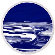Deep In Blue Round Beach Towel