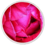 Deep Inside The Rose Round Beach Towel