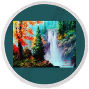 Deep Jungle Waterfall Scene. L A  Round Beach Towel