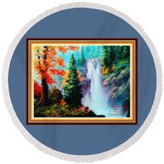 Deep Jungle Waterfall Scene L A With Alt. Decorative Ornate Printed Frame. Round Beach Towel
