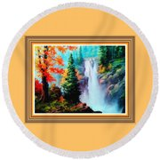Deep Jungle Waterfall Scene L B With Alt. Decorative Ornate Printed Frame. Round Beach Towel